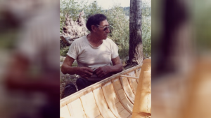 Archival photo of Isaiah Roberts who was a master canoe builder and member of Lac La Ronge Indian Band (Photo courtesy of Western Development Museum, WDM-1977-S-395)