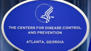 A sign with the logo for the Centers for Disease Control and Prevention at the Tom Harkin Global Communications Center in Atlanta, Georgia. (AFP)