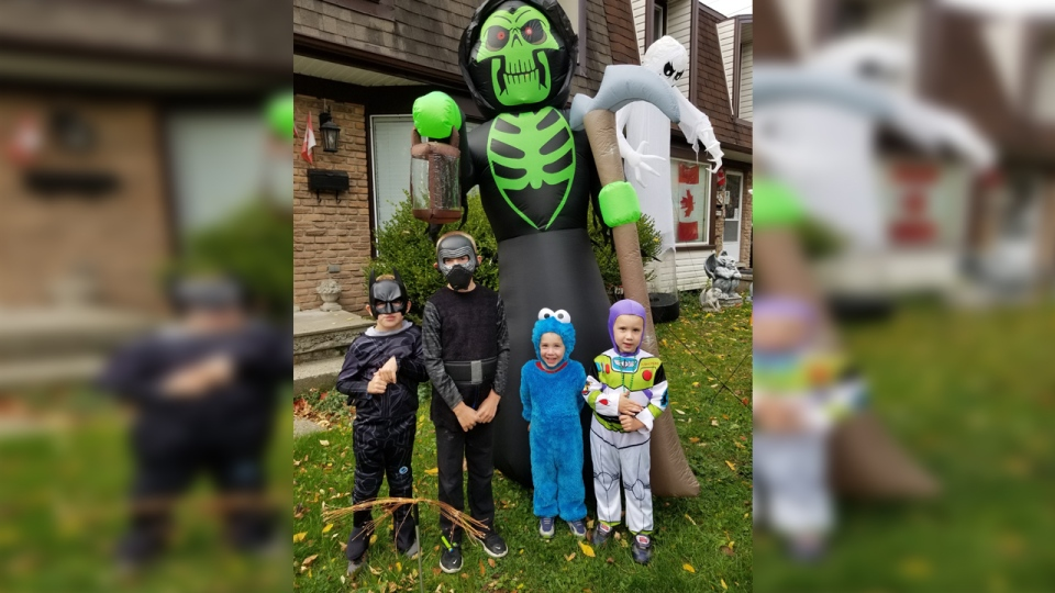 The Jacobs family from Waterloo shared this photo of their Halloween costumes. Pictured is Cy as Darth Vader, Sam dressed up as Batman, Jake is Buzz Lightyear and Riley who is going as the Cookie Monster.
