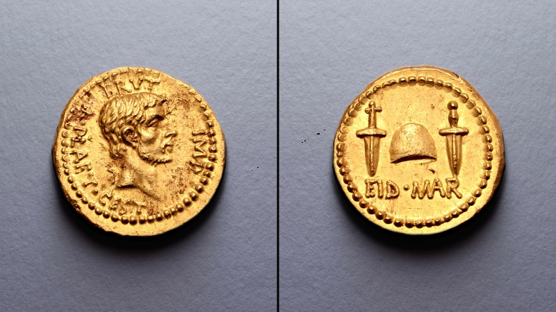 The ultra-rare coin was issued by and features a portrait of Brutus, one of the men who led the assassination of Julius Caesar. (Roma Numismatics Limited via CNN)