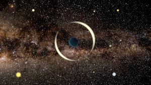 An artist's impression of a gravitational microlensing event by a free-floating planet. (Jan Skowron/Astronomical Observatory, University of Warsaw via CNN)