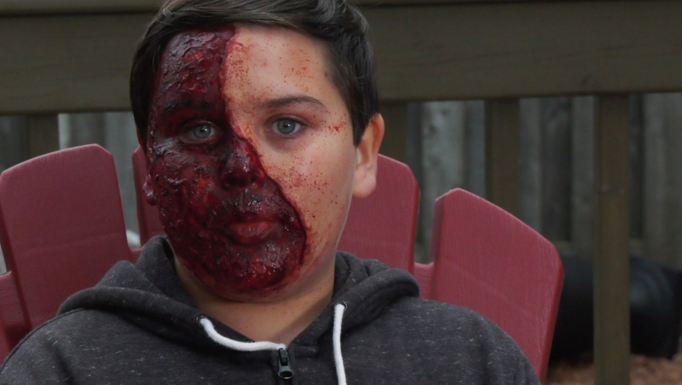 Jeremy Hubscher, 12, dabbles in special effects makeup.