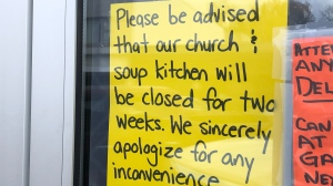 A sign in the door of the Word of Life Church in Blenheim, Ont. is seen Friday, Oct. 30, 2020. (Jim Knight / CTV News)
