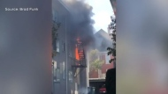 One person was taken to hospital Friday after a fire broke out at an apartment building in the James Bay area: (Brad Funk)