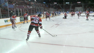 The Ottawa 67's warm-up at the Arena at TD Place.