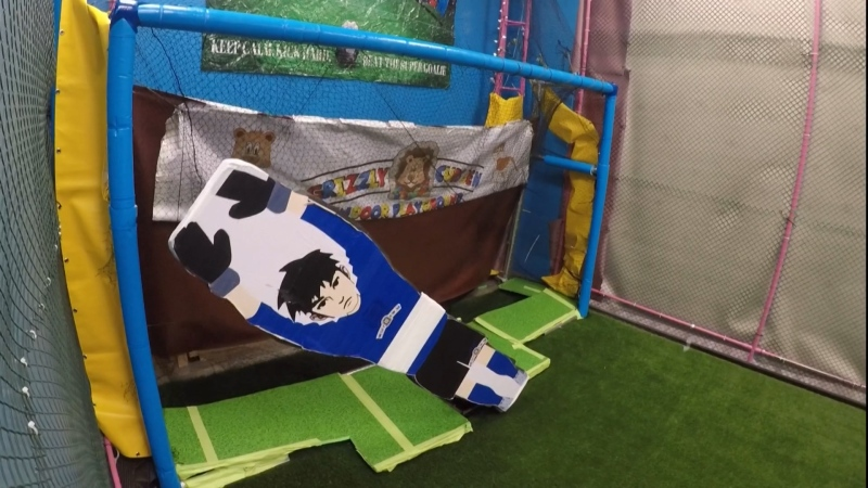 Zippy the robotic soccer goalkeeper at the Grizzly Cubs Den Indoor Play and Cafe. Oct. 30, 2020. (CTV News Edmonton)