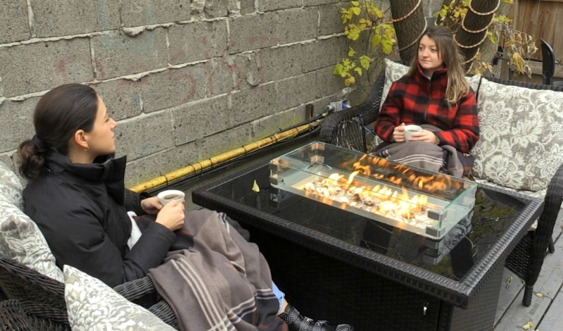 The Laughing Buddha is trying something new this year and is planning to keep its patio open, offering customers a heater and blankets. (Molly Frommer/CTV News)
