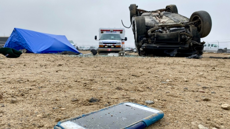 SGI recreated a car crash as part of its 2020 distracted driving campaign. (Gareth Dillistone/CTV News)