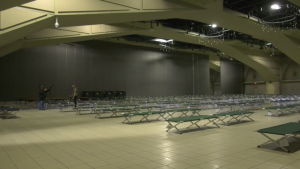 Once fully operational, the Edmonton Convention Centre's pandemic shelter will house about 300 people.