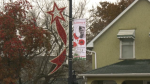 Memorial banner on display in Morinville.