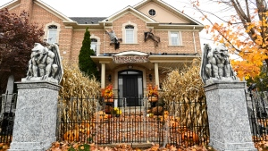 The front entrance to the Thornhill Woods Halloween haunted house during the COVID-19 pandemic in Thornhill, Ont., on Monday, October 19, 2020. THE CANADIAN PRESS/Nathan Denette
