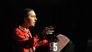 Arlen Dumas, Grand Chief of the Manitoba Assembly of Chiefs speaks during the Assembly of First Nations' 38th annual general meeting Regina, Sask., Thursday, July 27, 2017. THE CANADIAN PRESS/Mark Taylor