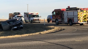Emergency crews were called to a two-vehicle crash north of Calgary Saturday morning.