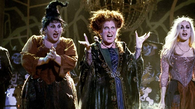 "Kathy Najimy, Bette Midler, and Sarah Jessica Parker appear in a scene from the 1993 film ""Hocus Pocus."" (Disney)"