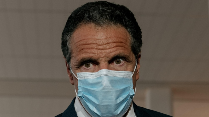 New York Gov. Andrew Cuomo can be seen wearing a mask in this image. (Scott Heins/Getty Images)