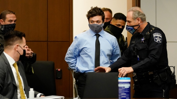 Kyle Rittenhouse appears for an extradition hearing in Lake County court Friday, Oct. 30, 2020, in Waukegan, Ill. (AP Photo/Nam Y. Huh, Pool)