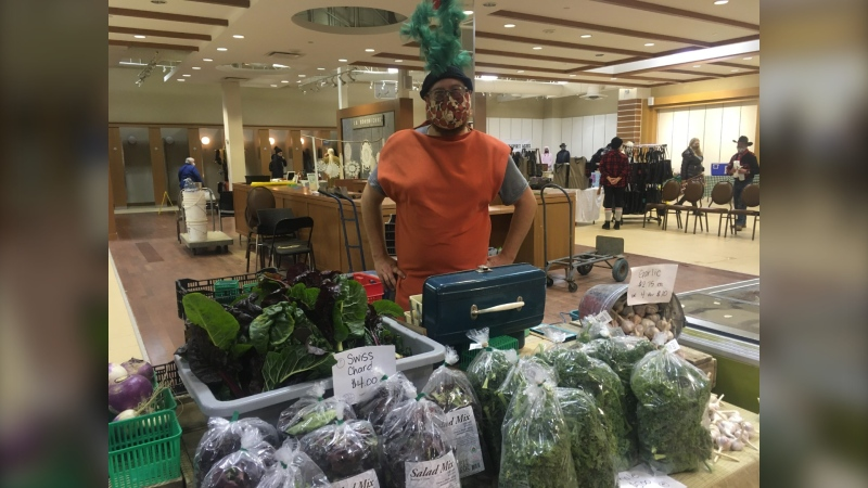 Eric Blondin from Three Forks Farms was set-up selling organic meat and produce. The farmer from Manitoulin Island appreciates the focus on local at the market. Oct.31/20 (Alana Everson/CTV News Northern Ontario)