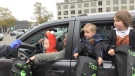 Kids enjoyed their candy safely during Budweiser Gardens drive thru Candy Cruise, Saturday October 31, 2020 (Jordyn Read / CTV News)
