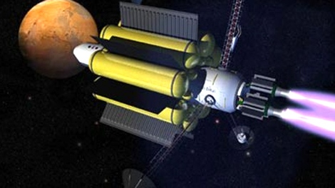 Artist's rendition of a possible spacecraft powered by a VASIMR engine as seen in this image courtesy NASA.