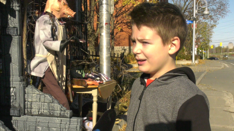 Alexandre Nantel and his father Alain have turned their Little Italy home into a 12-days of Halloween must-see attraction. (Shaun Vardon/CTV News Ottawa)