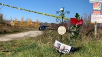A memorial near where a body believed to belong to Siem Zerezghi was found in Bradford, Ont. on Sat. Oct. 31, 2020 (Craig Momney/CTV News)