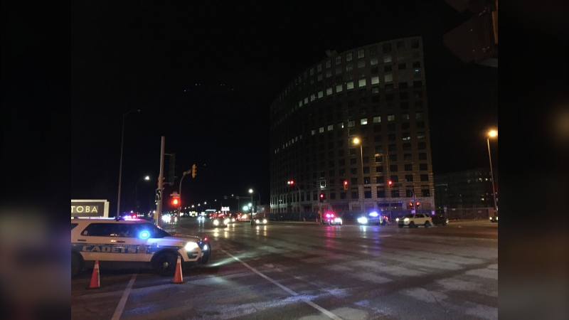 The southbound lanes on Pembina Highway at Bison Drive closed due to a dangerous situation on Oct. 31, according to Winnipeg police. (CTV News Photo Zachary Kitchen)