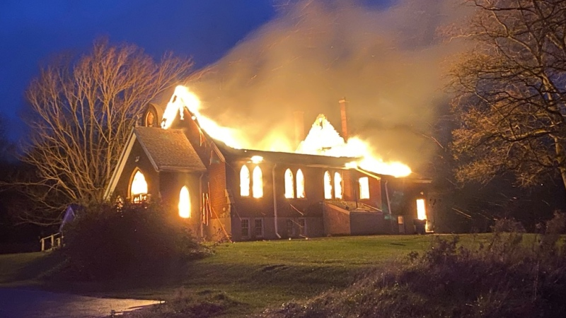 St. Andrews Anglican Church went up in flames on Sunday, Nov 1, 2020. (OPP West Region)