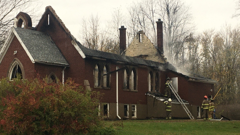 St. Andrews Anglican church is a total loss following an early morning fire on Nov. 1, 2020. (CTV London / Brent Lale)