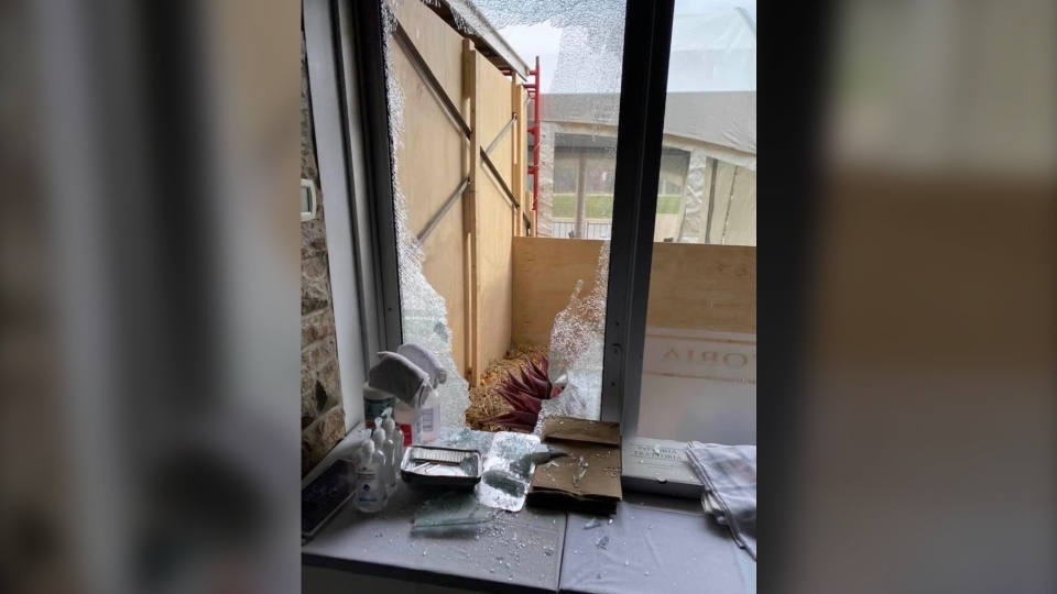 Owner Domenic Santaguida says someone broke a window and ransacked VIttoria Trattoria overnight. (Photo courtesy: Domenic Santaguida)