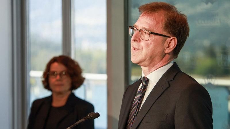 Minister of Health Adrian Dix and deputy provincial health officer Dr. Réka Gustafson provide an update on COVID-19 in a file photo from Aug. 17, 2020 (Province of B.C. / Flickr)