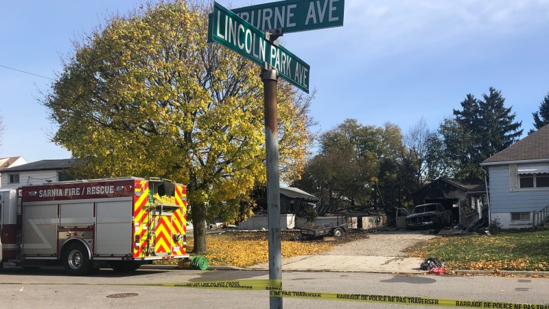 Damage from an early morning fire in Sarnia, Ont. is seen Monday, Nov. 2, 2020. (Jordyn Read / CTV News)