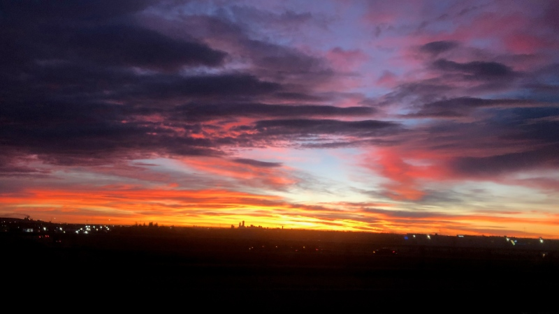 Edmontonians woke up to a beautiful sunrise on Monday, Nov. 2, 2020. (Supplied)