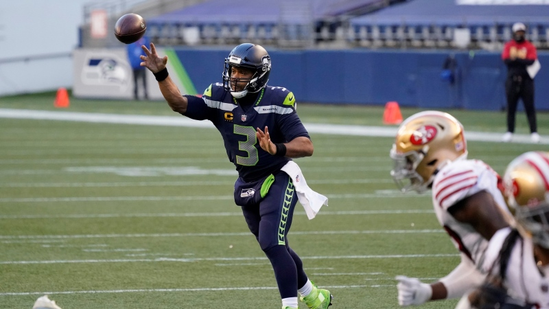 Seattle Seahawks quarterback Russell Wilson passes against the San Francisco 49ers during the second half of an NFL football game, Sunday, Nov. 1, 2020, in Seattle. (AP / Elaine Thompson)