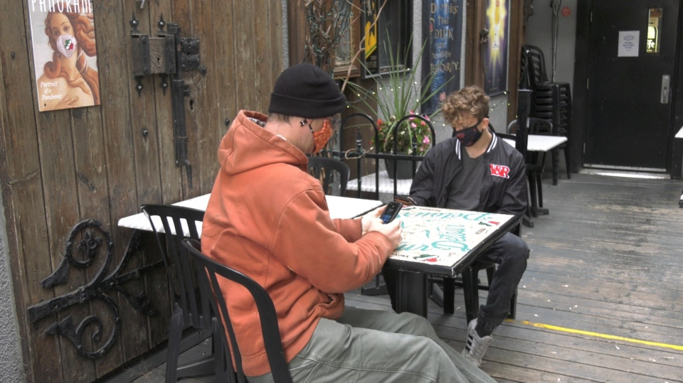 Two patrons sit at a table at Pub Italia on Preston Street in Ottawa, Nov. 2, 2020. The city's Transportation Committee has approved a plan to help keep patios open during the winter months. (Leah Larocque / CTV News Ottawa)