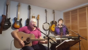 Don Discher and Lyn Mazonnelo, from the Sault, team up to cover Merle Haggard's 'Lonesome Fugitive.'