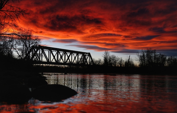 Chris's photo of the Nov. 2 sunset over the train bridge in Bowness