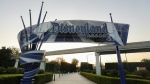 A Disneyland sign is posted at an empty entrance to Disneyland on Sept. 30, 2020 in Anaheim, Calif. (AFP)