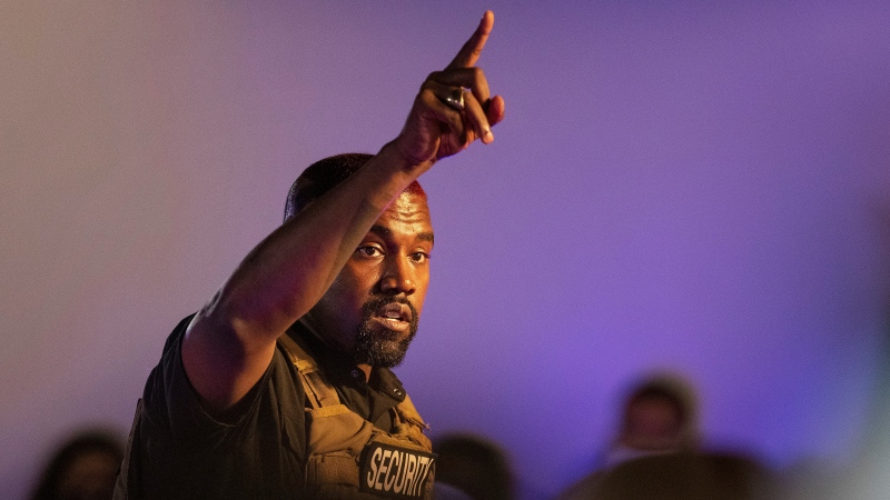 In this July 19, 2020, file photo, Kanye West makes his first presidential campaign appearance, in North Charleston, S.C. (Lauren Petracca Ipetracca/The Post And Courier via AP, File)