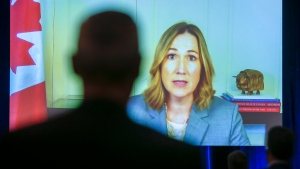 Canada's Ambassador to the United States Kirsten Hillman speaks via video link at the Global Business Forum in Banff, Alta., Thursday, Sept. 24, 2020.THE CANADIAN PRESS/Jeff McIntosh