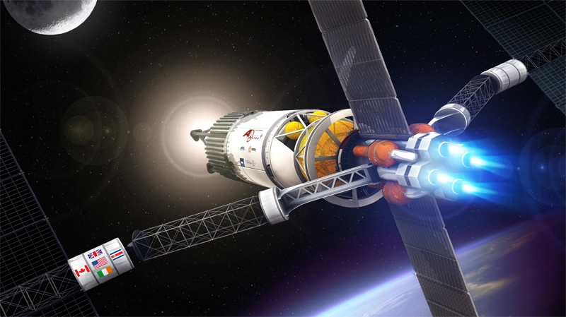 A VASIMR engine, seen here in this artist's rendition from the Ad Astra Rocket Company, could apparently make a manned flight to Mars in approximately 39 days.