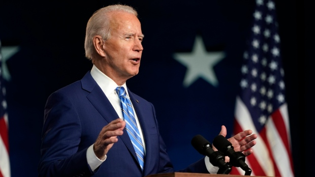 FILE -- Democratic presidential candidate former U.S. Vice President Joe Biden speaks Wednesday, Nov. 4, 2020, in Wilmington, Del. (AP Photo/Carolyn Kaster)