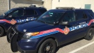 Aylmer police cruisers are seen on Wednesday, Nov. 4, 2020. (Bryan Bicknell / CTV News)