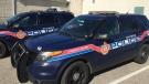 Aylmer police cruisers are seen on Wednesday, Nov. 4, 2020. (Bryan Bicknell / CTV News)