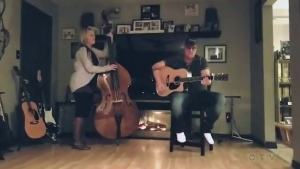 Tonight we have a cover song from husband and wife duo, Jon and Nat Giroux, from Warren who perform, 'When You Say Nothing at All.'