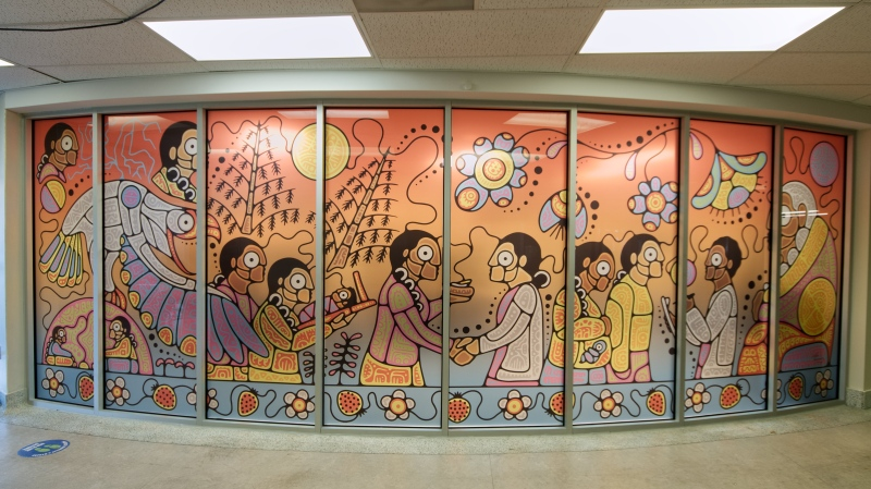 The mural created by Indigenous artist Tsista Kennedy from Beausoleil First Nation, and Oneida Nation of the Thames. (Supplied by LHSC)