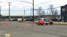 Saskatoon police were on scene at the intersection of Hanselman Avenue and 45th Street West. (Janella Hamilton/CTV News)