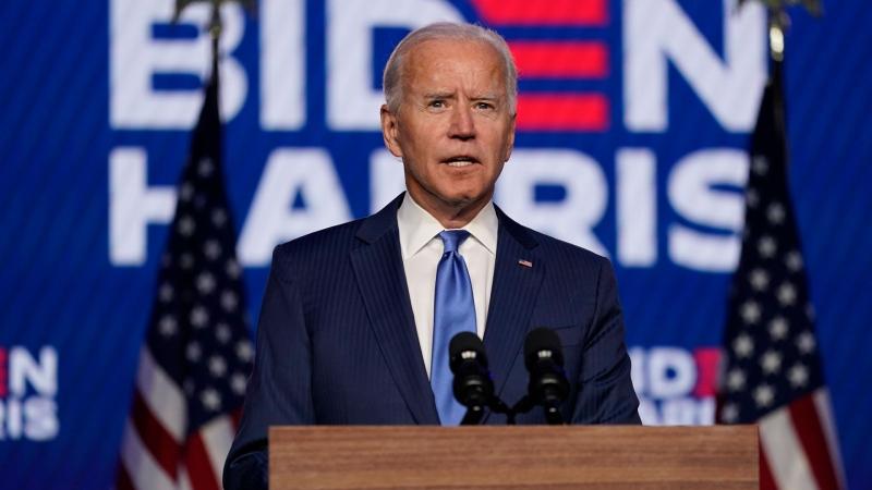 Democratic presidential candidate former Vice President Joe Biden speaks Friday, Nov. 6, 2020, in Wilmington, Del. (AP / Carolyn Kaster)