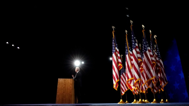 In this Aug. 20, 2020, file photo Democratic presidential candidate former Vice President Joe Biden speaks during the fourth day of the Democratic National Convention at the Chase Center in Wilmington, Del. (AP Photo/Andrew Harnik, File)