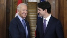 FILE- Prime Minister Justin Trudeau shakes hands with US Vice-President Joe Biden on Parliament Hill in Ottawa on Friday, December 9, 2016.Democrat Joe Biden defeated President Donald Trump to become the 46th president of the United States on Saturday, positioning himself to lead a nation gripped by the historic pandemic and a confluence of economic and social turmoil. THE CANADIAN PRESS/Patrick Doyle