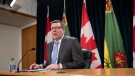 Saskatchewan Premier Scott Moe at a press conference at the Legislative Building in Regina on Tuesday Oct. 27, 2020. THE CANADIAN PRESS/Michael Bell